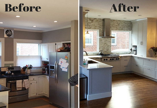 before and after images for kitchen renovation